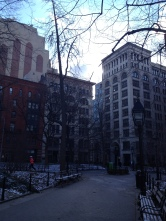 Many of the buildings surrounding the park now belong to NYU.