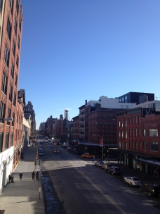 Looking out at a street from the High Line.