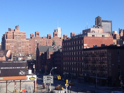 A view of the Meatpacking District from the High Line. The park continues on through Chelsea.