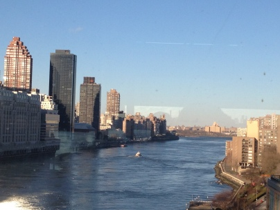 Approaching Roosevelt Island before we turned right back around. :)