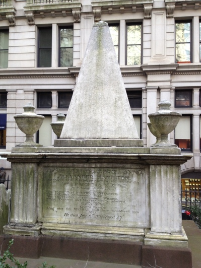 Alexander Hamilton is buried at the Trinity Church cemetery.