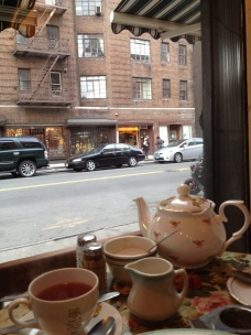 Enjoying tea and scones on my last day in NYC.