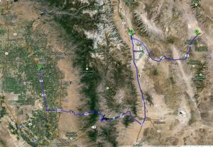 Death Valley to Tulare Map