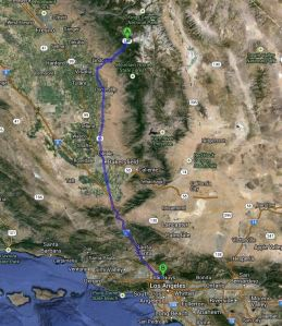 Sequoia NP to Burbank Map
