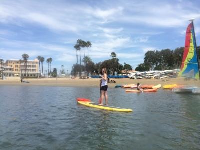 Hillary paddle boarding