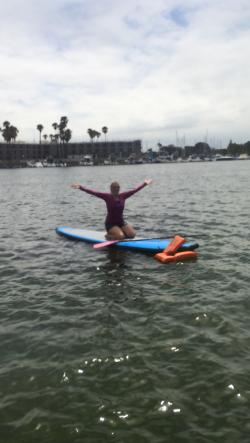 Kayla fell off board