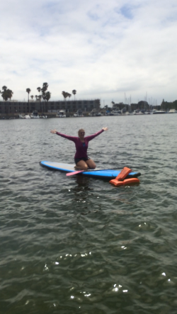 Kayla fell off board